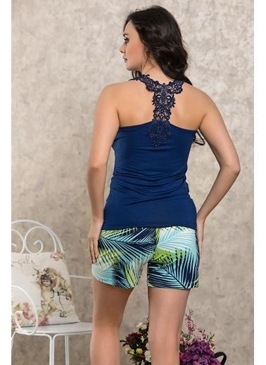 Lingabooms Palmiye Desenli Atlet Şort Pijama Takım Lacivert